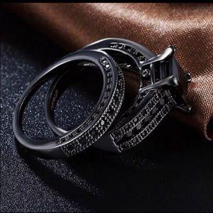 New s925 black gunmetal wedding ring set